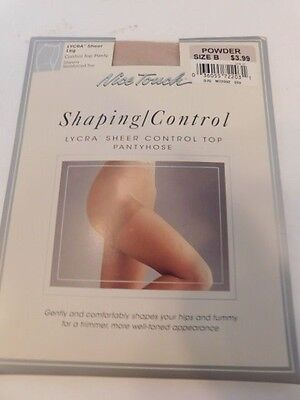 e338d3005  Nice Touch Shaping Lycra Sheer Control Top Pantyhose Color  Powder Size  B