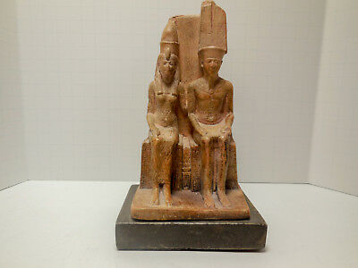 Amon & Mut Statue Masterpiece from Louvre Museum Replica Text on Back 19 Dynasty