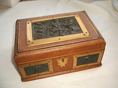 Antique Victorian Workbox or Jewellery Box with Bronze Electrotype Plaques