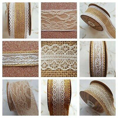 Rustic Elegant Hessian and Ornate Lace Ribbon 1-5 yard Wedding Card Craft Sewing