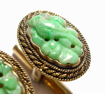 Beautiful Pair Of Vintage Or Antique Silver & Carved Jade Stone Bird Cufflinks