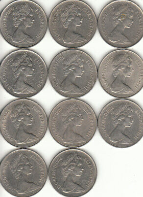 OLD Large 10p COINS 1968 to 1980 10 NEW PENCE  A MULTIPLE ITEM