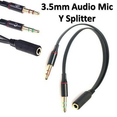 3.5mm Audio Headphone Y Splitter Adapter Mic Connect Cable 2x Jack Male - Female