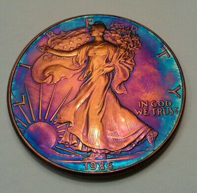1986   american silver  eagle  with beautiful toning, TONED..