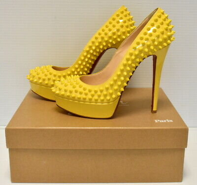 new style 4391b 6afd1 CHRISTIAN LOUBOUTIN BIANCA 140 Spikes Yellow Patent Calf Heels Pumps Size  38-1/2