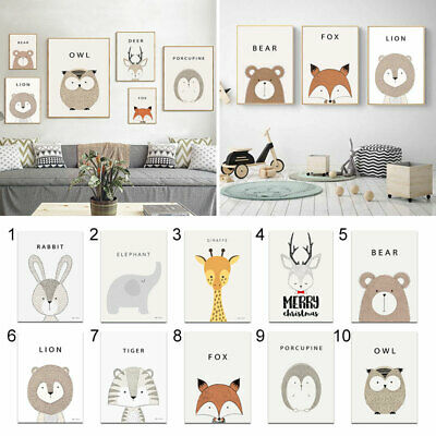 Cartoon Animals Canvas Art Print Nursery Wall Paintings Kids Room Decor