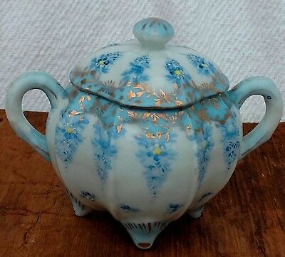 Antique Porcelain Sugar Bowl Footed~Lidded~Gold Trim~Hand Painted~Blue~Square