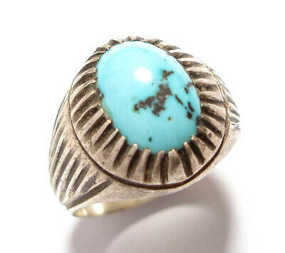 Beautiful Vintage Or Modern Silver Ring Set With Turquoise