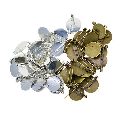 100pcs Round Brooch Clasps Pin Disk Base Pad Bezel Blank Cabochon Trays 20mm