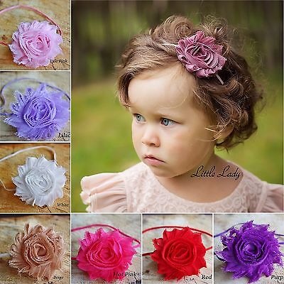 Girl Baby Elastic Headband HairBand Shabby Chic Flower Rose Christening Wedding