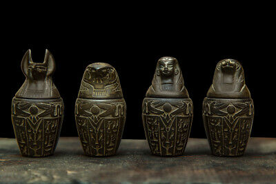 ANCIENT EGYPT EGYPTIAN ANTIQUES Statue Set of 4 Canopic Jars Carved Stone BCE