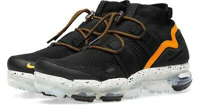87d23ce5349 NIKE AIR VAPORMAX Flyknit Utility Black   Orange Peel AH6834-008 ...