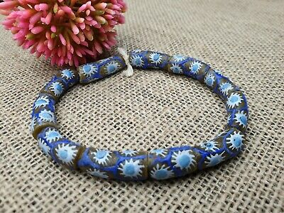 Krobo Chevron Ghana recycled glass beads Pulver Glasperlen Afrika grün 10 mm