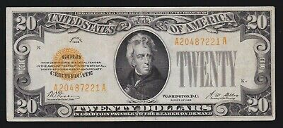 US 1928 $20 Gold Certificate FR 2402 VF-XF (-221)