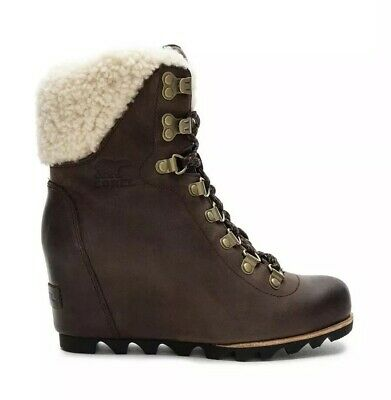 b5dc8598b7f1 NEW SOREL Conquest Wedge Shearling Women 10.5 Tobacco Black Lace Up Leather  Boot