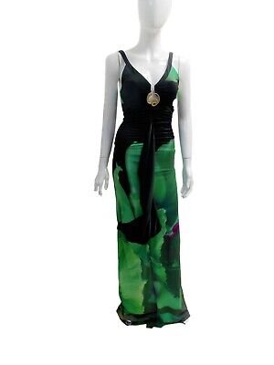 2e4fc194680 ROBERTO CAVALLI BLACK and Green Gold Snake Maxi Dress -  1