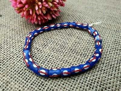 Afryka Krobo Ghana recycled trade glass beads Pulver Glasperlen Afrika blau Punkte 7 mm