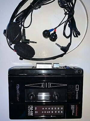 VINTAGE QUASAR GX-3678 ULTRASONIC STEREO RADIO CASSETTE PLAYER W/ 2 Headphones