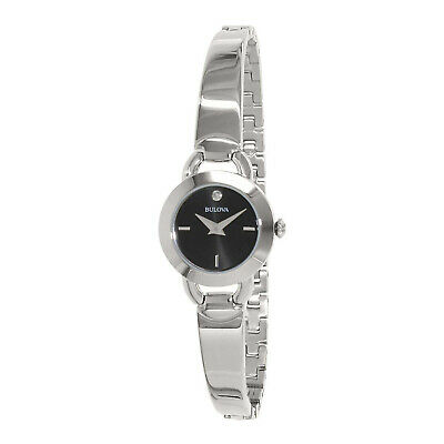 Bulova 96P155 Women's Diamond Accent Stainless Steel Bangle Bracelet Watch