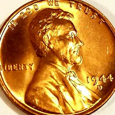 1944-D, Lincoln Wheat Cent Penny BU Gorgeos, CH, GEM Nice Luster From OBW Roll