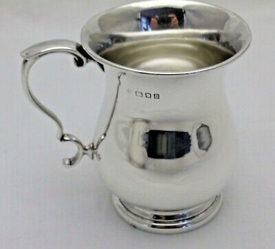 Antique Solid Sterling Silver Christening Baluster 1/4 Pint Tankard London 1919