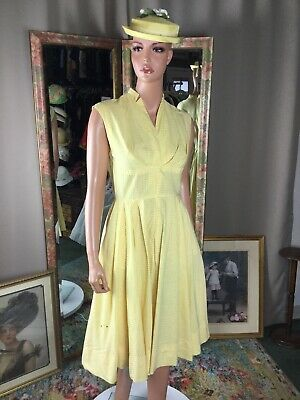 Vintage 50s Abby Kent Yellow White Gingham Sleeveless Swing Pinup Dress Size 6