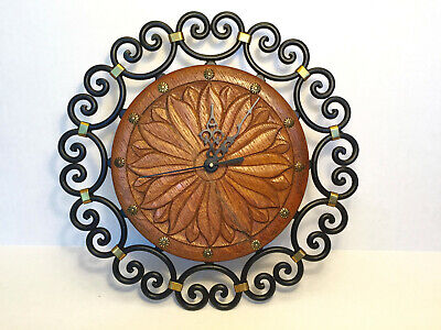 VTG Carved Danish Oak Wrought Iron Wall Clock BRAND NEW QUARTZ BATTERY MOVEMENT