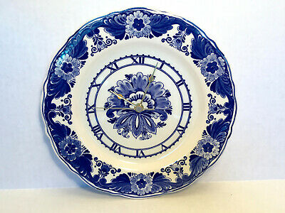 VINTAGE Delft Holland Plate Wall Clock BRAND NEW QUARTZ BATTERY MOVEMENT 9.75 IN