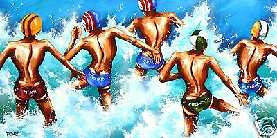 beach surf life saving abstract art print painting coa surfing by andy baker