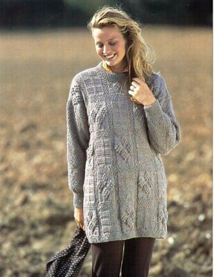 Ladies Knitting Pattern Copy Long Line Textured Jumper Sweater DK 8 Ply