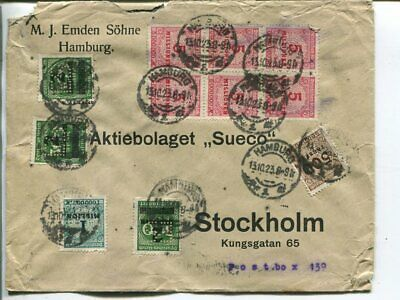 Germany infla cover to Sweden 13.10.1923, perfins ES on 3 stamps