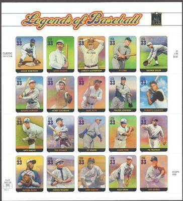 US Sheet Of 20 - Scott # 3408 - Legends Of Baseball  - MNH - 2000