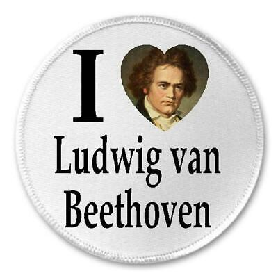 """I Love Ludwig Van Beethoven - 3"""" Sew / Iron On Patch Composer Musician Gift"""