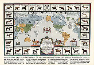 1936 Horse Map of the World Antique Vintage Pictorial Wall Art Poster Decor