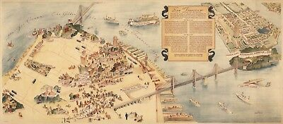 Pictorial Map of San Francisco City of Thousand and One Delights Wall Art Poster