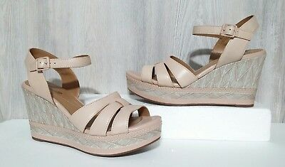 da520858795 Womens Clarks Zia Noble Leather Open Toe Ankle Strap Casual Wedge Sandal Sz  9.5