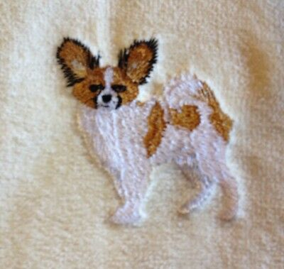 Papillon, Hand Towel, Embroidered, Custom, Personalized, Dog