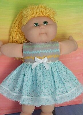 "16"" CABBAGE PATCH Dolls Clothes / aqua-blue / white floral DRESS & BLOOMERS"