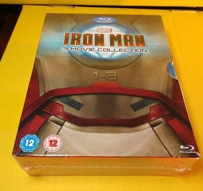 Iron Man Trilogy Collection (Blu-ray,REGION FREE)Slipcover-NEW-Free SHIPPING