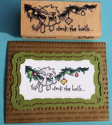 New Rare Stampendous Fluffles Christmas Garland Fat Cat Rubber Stamp Ornaments