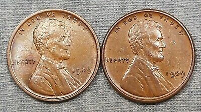 Lot Of 2 Nice 1909 VDB Lincoln Wheat Cents