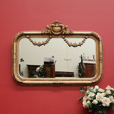 Vintage French Gilt Bevelled Edge Wall Hanging Hall Vanity Living Room Mirror