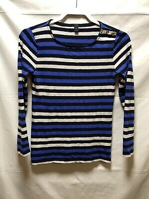 b224c679 J Crew Striped Boatneck Gold Button T Shirt Top Navy Pullover Size Small