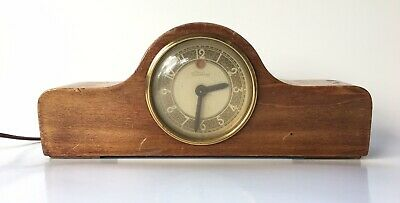Vintage Art Deco TELECHRON Electric Small Wooden Mantle Clock Keeps Perfect Time