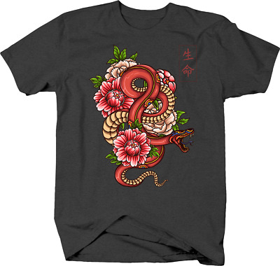 Chinese Characters with Winding Snake and Peony Blossoms Tshirt