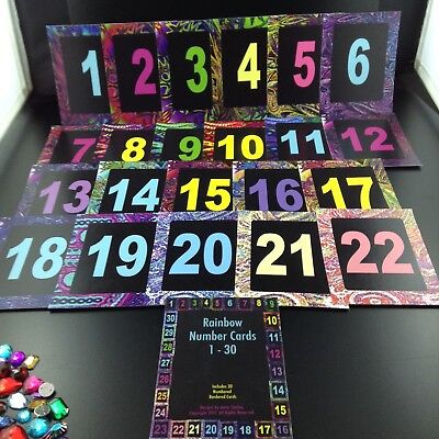 Rainbow Number Cards 1-30, Laminated, Table Numbers, Decorative Original Designs