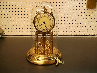 Euramica 400 D Ann. clock, complete w/ glass dome, w/ broken susp. spring as-is