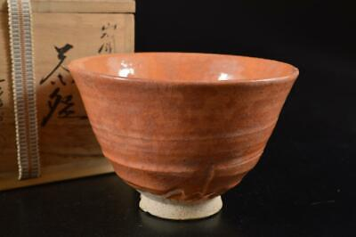 G9698: Japanese Raku-ware Red glaze TEA BOWL Green tea tool, auto w/signed box