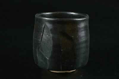 G9697: Japanese Seto-ware Black glaze TEA BOWL Green tea tool Tea Ceremony