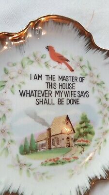 Vintage JAPAN Hanging Decorative Plate Dish Novelty Verse Exc Cond